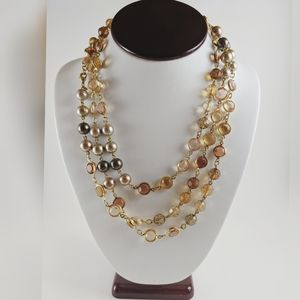 Premiere Designs Pink Clear Crystal Pearl Necklace